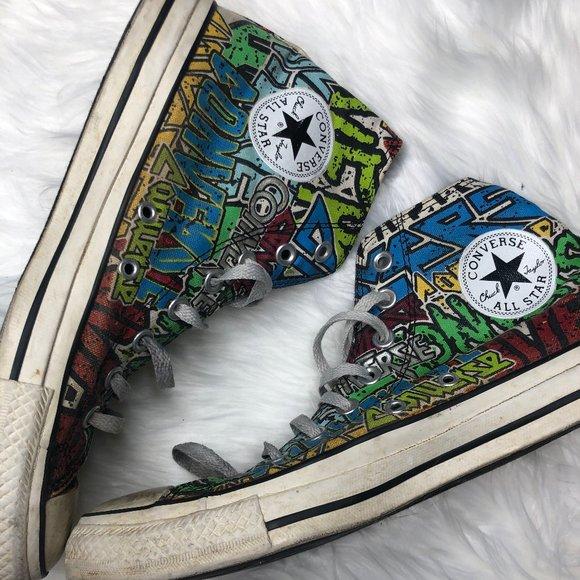 Converse Shoes | Gorg Converse Graffiti High Top Sneakers 8 | Poshmark